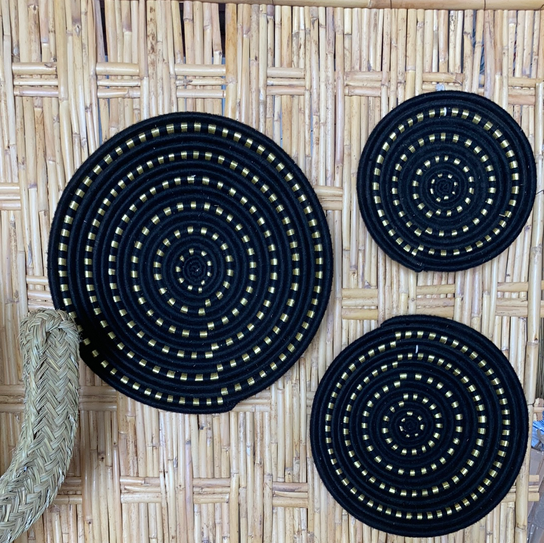 Wall Basket - Black & Gold - Set of 3