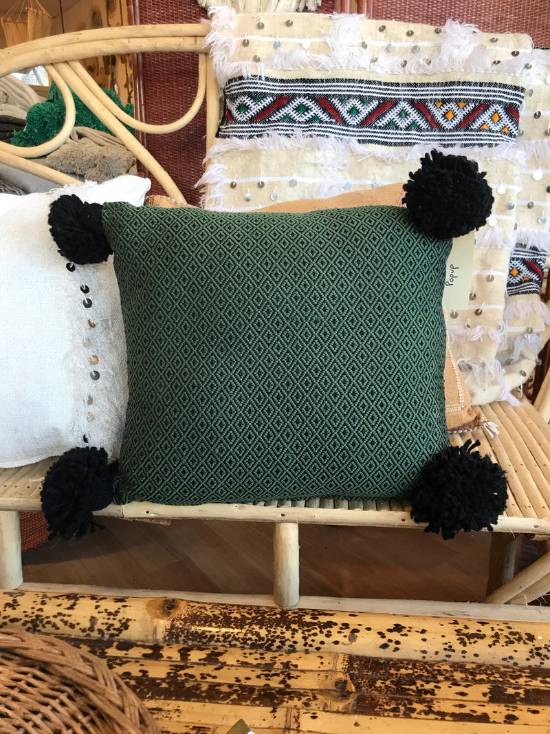 Moroccan Handmade 100% Cotton Pillow - Green and Black with Pom Pom Sides
