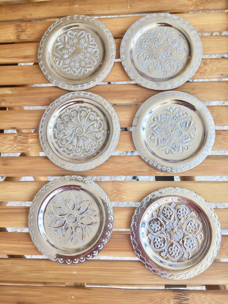 Set of 6 silver coasters - Morocco