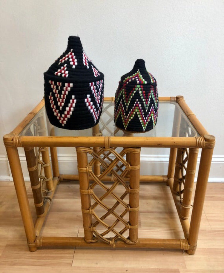 Set of 2 Moroccan Baskets 12'x8' & 10'x6'