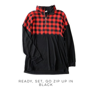 Ready, Set, Go Zip Up in Black