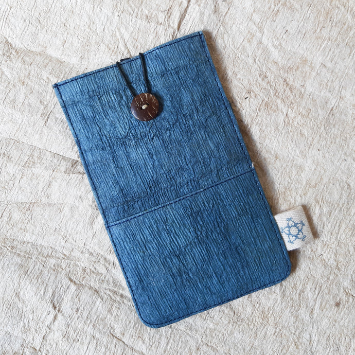 Barkcloth Phone Pouch - Ocean Blue