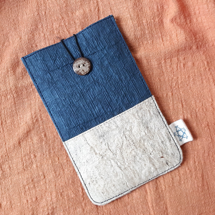 Barkcloth Phone Pouch - Cloud and Ocean