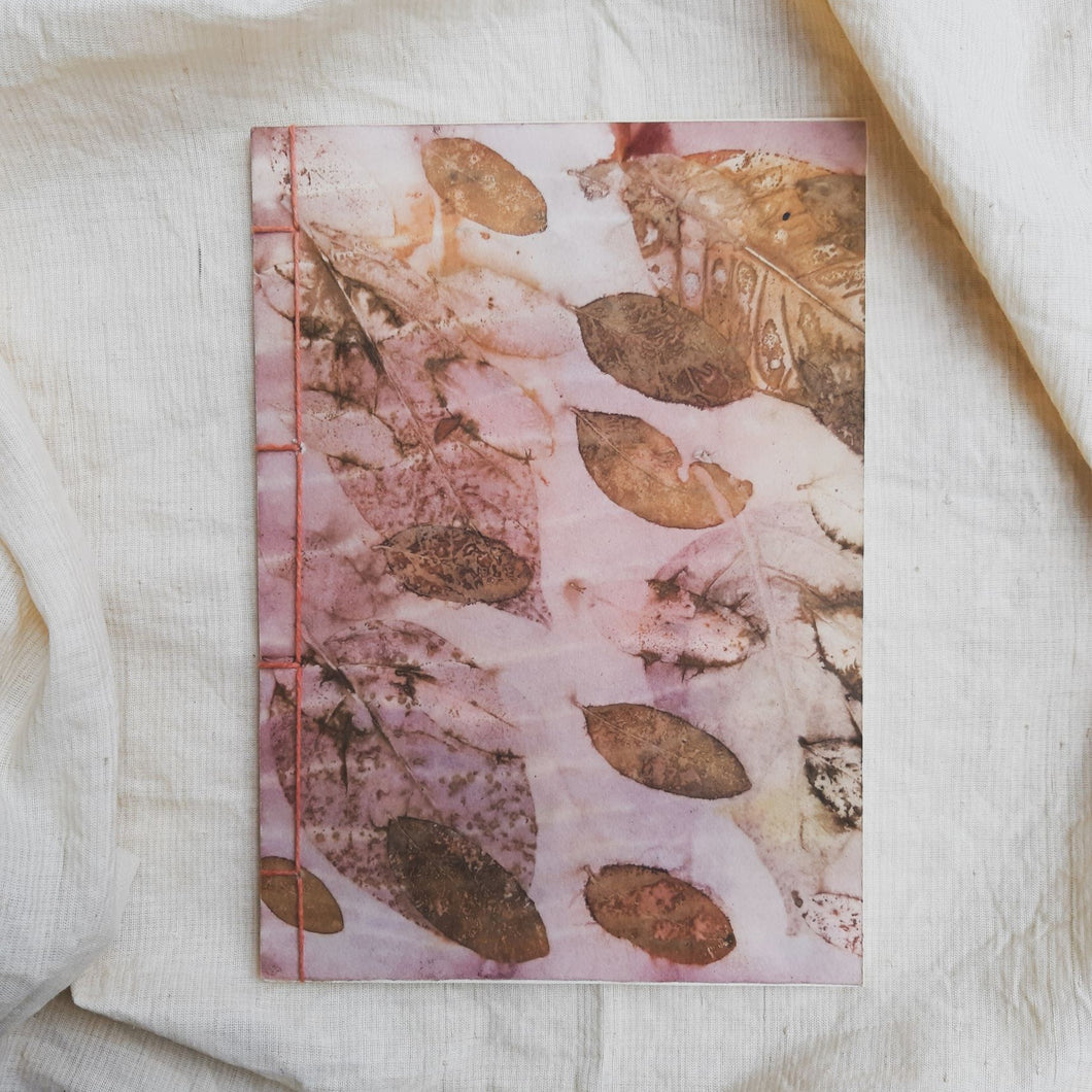 Ecoprinted Journal | Pink Mangsi