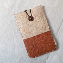 Load image into Gallery viewer, Barkcloth Phone Pouch - Dusky Pink - Cream
