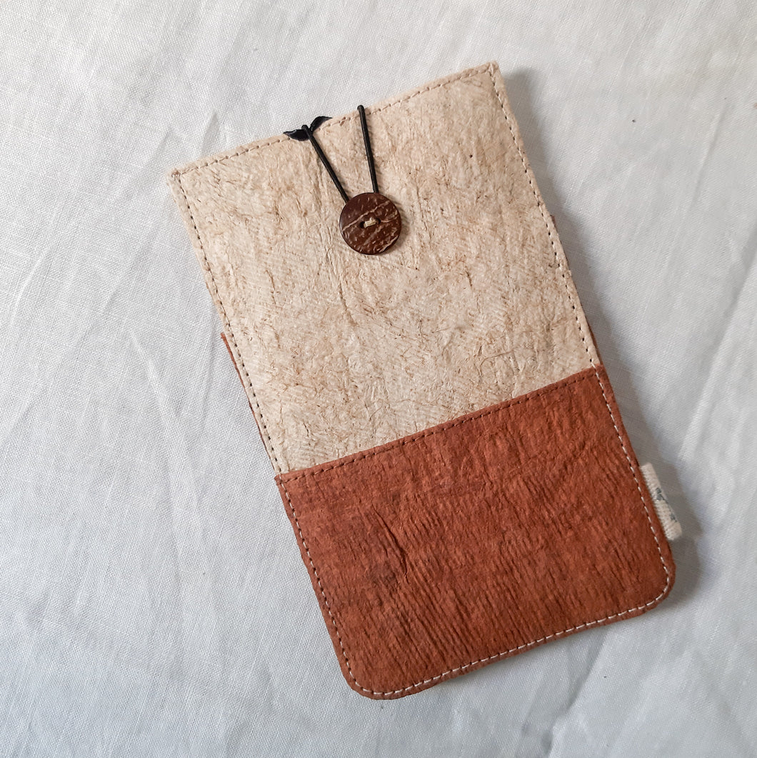 Barkcloth Phone Pouch - Dusky Pink - Cream