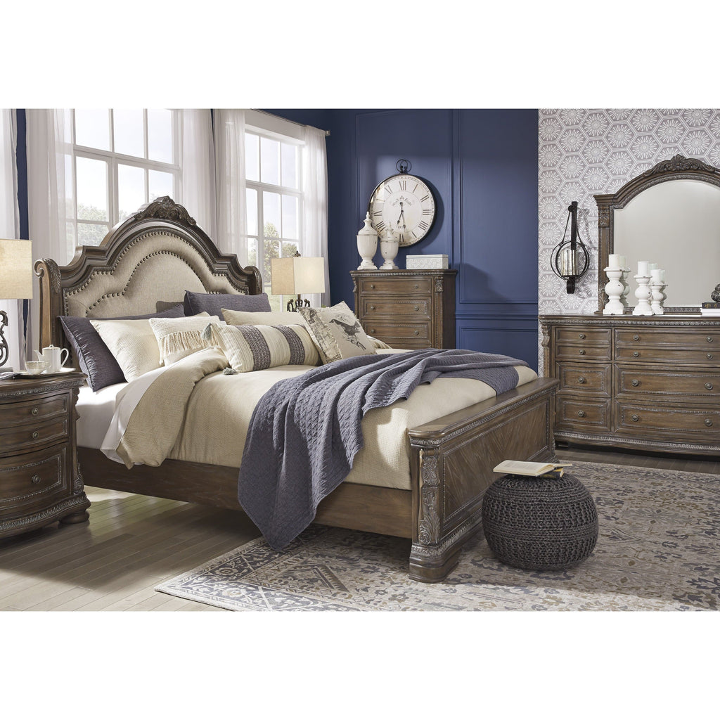 BED Brown Charmond - Queen Sleigh Bed
