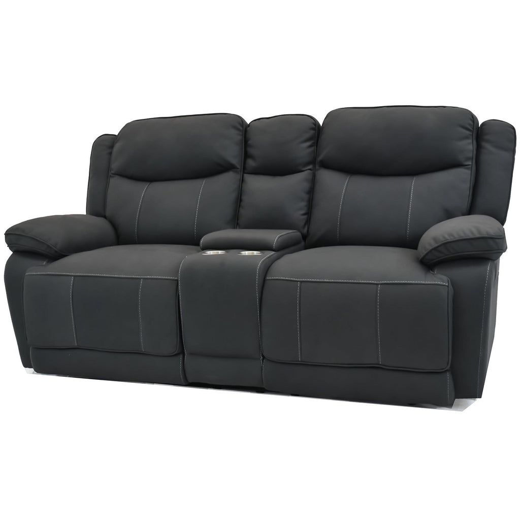 SOFA 2RR plus Console / Black Suede Justin - 2 Seater