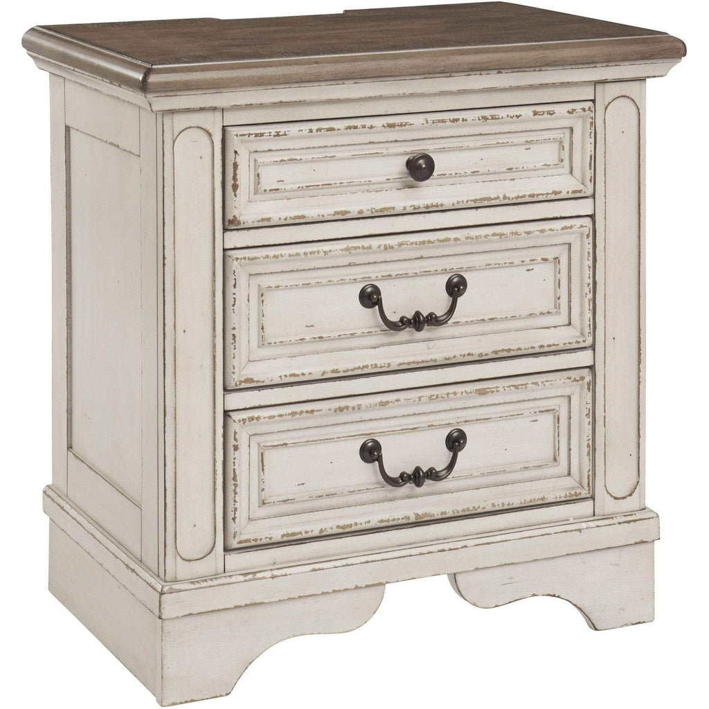 ASH Three Drawer Night Stand / Two Tone Realyn - Three Drawer Night Stand