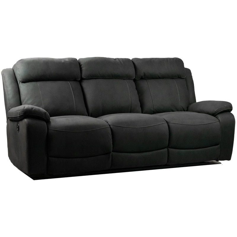 SOFA 3ERER / Black Suede Wilson - 3 Seater Reclining Sofa