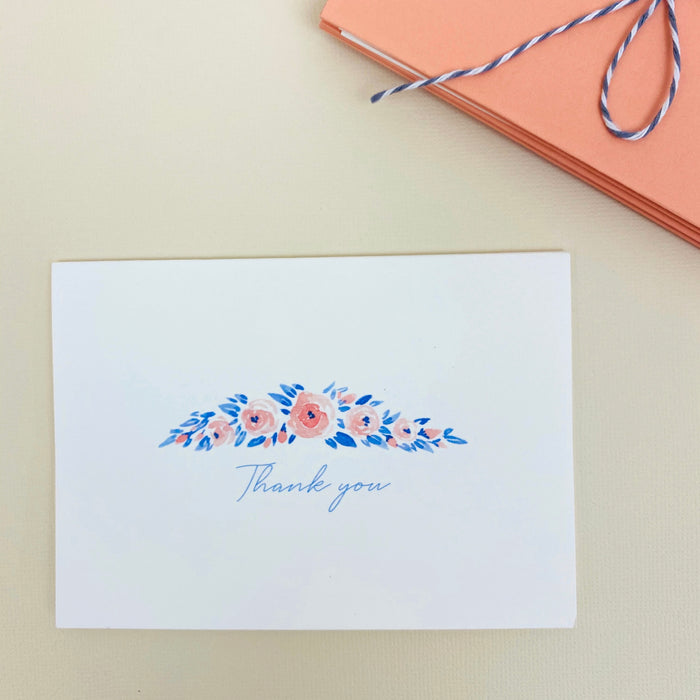 "Notecard Set - Peach Rosettes ""Thank You"""