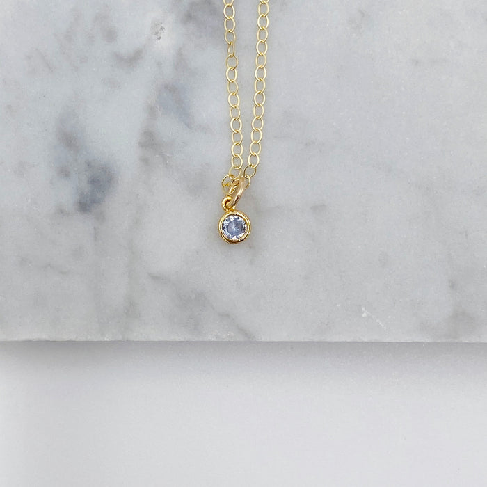 Miniature Birthstone Necklace- Mar/Aquamarine