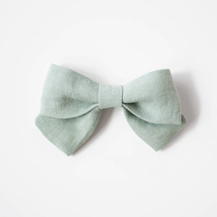 Medium Sailor Bows- Kind Green, Alligator Clip