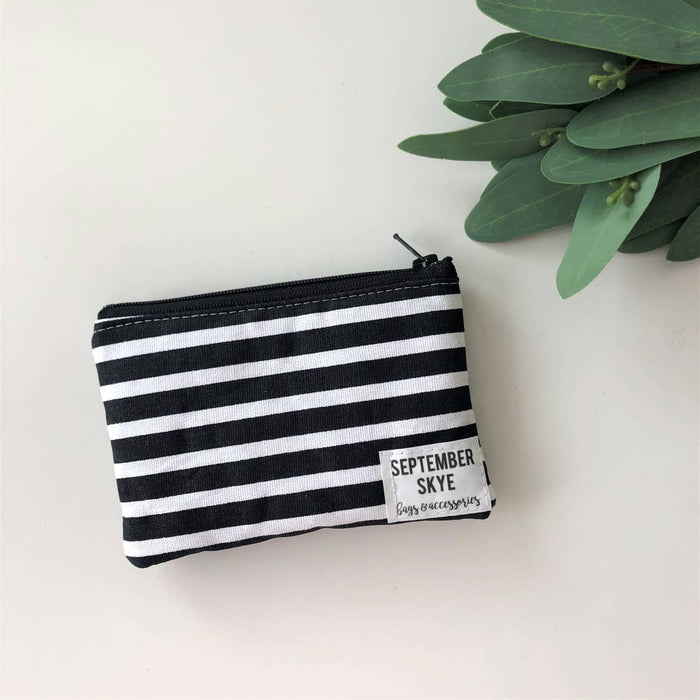 September Skye Bags- Mini Coin Purse in Black and White Stripes