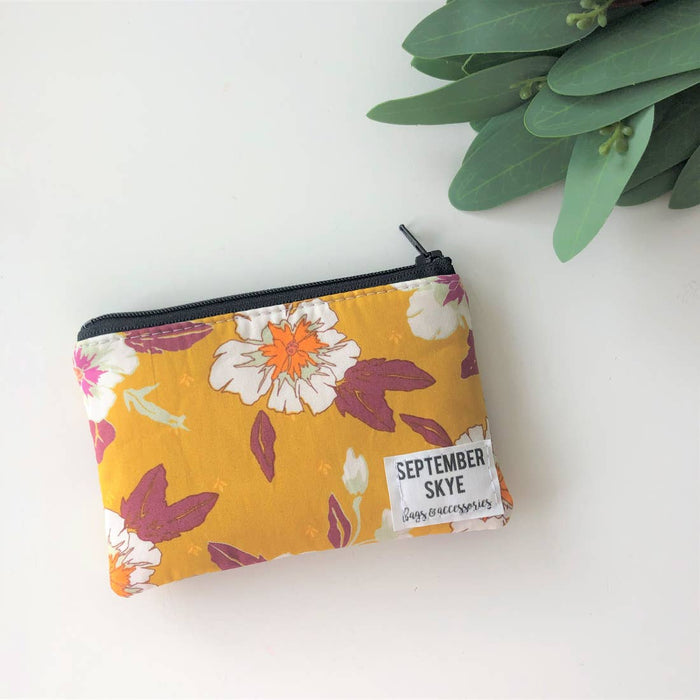 Mini Coin Purse Mustard Floral