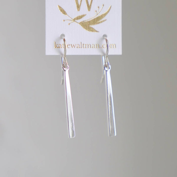 Petite Bar Earrings- Silver