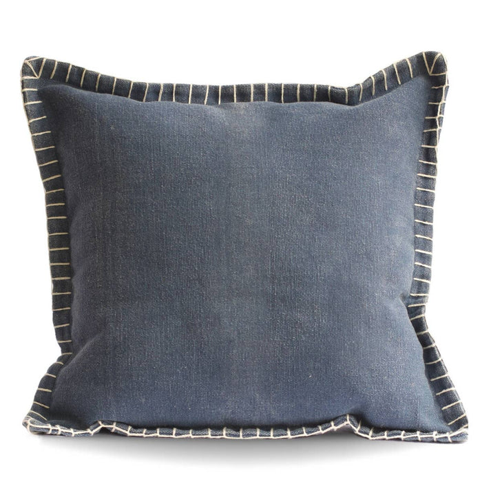Stone Washed Cotton Pillow- Blue