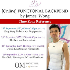 [Zoom] FUNCTIONAL BACKBEND by James' Wong (75 min) at 6.30pm Fri on 25 Sep 2020 -completed