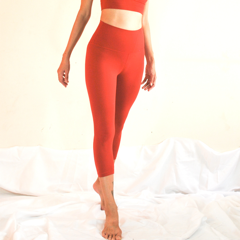 [Free Shipping] OHMfinity - LUSH Nude Feel Capri Leggings - Crimson