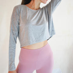 [Free Shipping] OHMfinity - PAULA Long Sleeved Crop Top - Light Grey