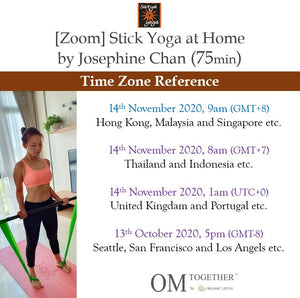 [Zoom] STICK YOGA AT HOME by Josephine Chan (75 min) at 9am on 14 November 2020 -completed