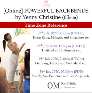 [Online] POWERFUL BACKBENDS by Yenny Christine (60 min) at 1.30pm Sat on 25 July 2020 (GMT+8)