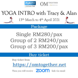 YOGA INTRO with Tracy and Alan (75min x 8 sessions) 13 March - 4 April 2021