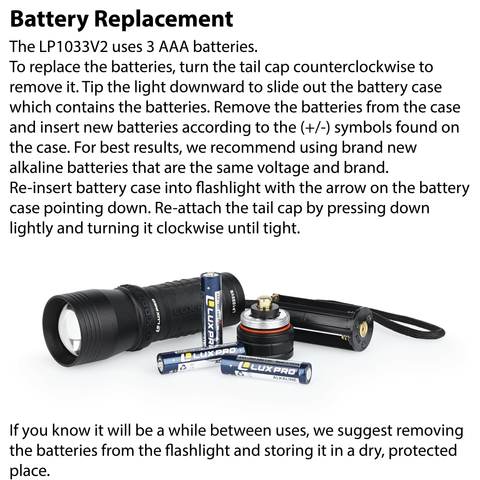 LUXPRO LP1033V2 Flashlight Battery Replacement Instructions