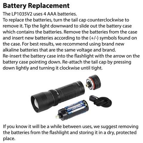 LUXPRO LP1035V2 Flashlight Battery Replacement Instructions