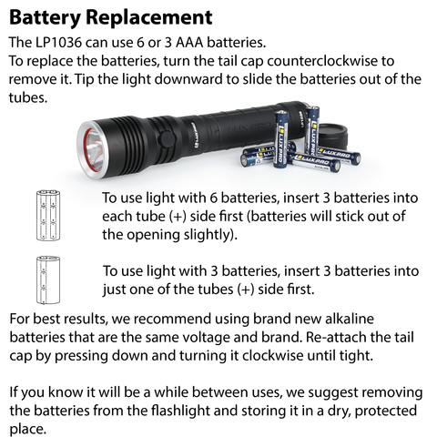 LUXPRO LP1036 Flashlight Battery Replacement Instructions