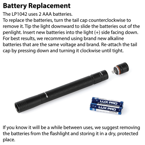 LUXPRO LP1042 Penlight Battery Replacement Instructions