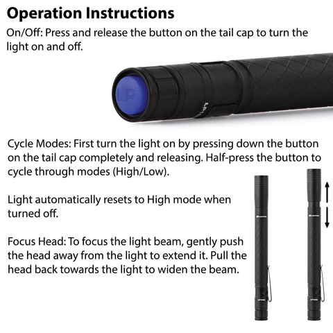 LUXPRO LP1042 Penlight Operation Instructions