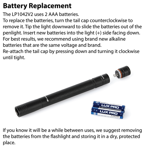 LUXPRO LP1042V2 Penlight Battery Replacement Instructions
