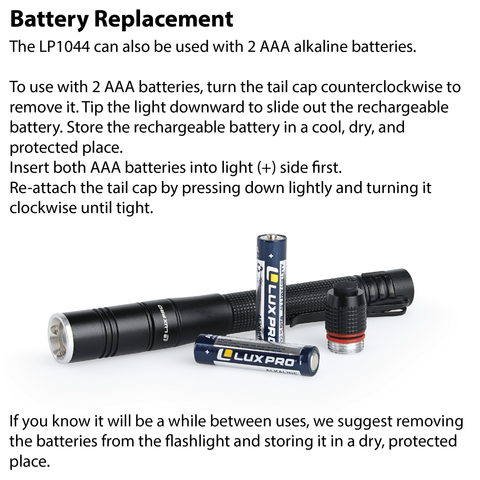 LUXPRO LP1044 Flashlight Battery Replacement Instructions