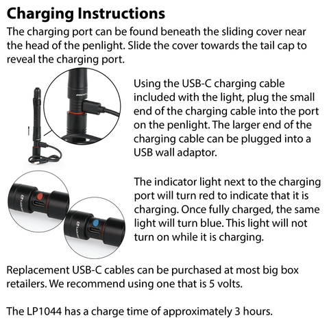 LUXPRO LP1044 Flashlight Charging Instructions