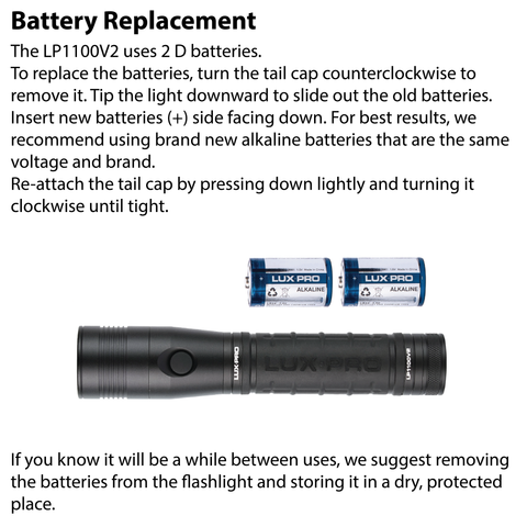 LUXPRO LP1100V2 Flashlight Battery Replacement Instructions