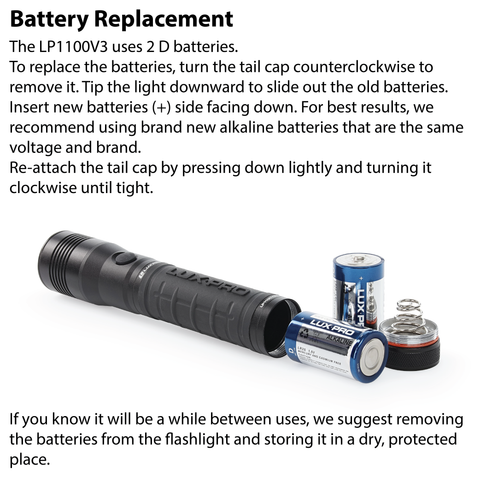 LUXPRO LP1100V3 Flashlight Battery Replacement Instructions