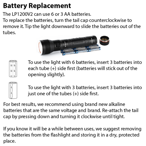 LUXPRO LP1200V2 Flashlight Battery Replacement Instructions