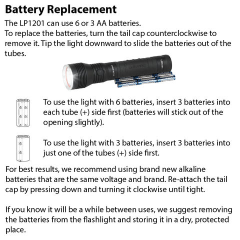 LUXPRO LP1201 Flashlight Battery Replacement Instructions