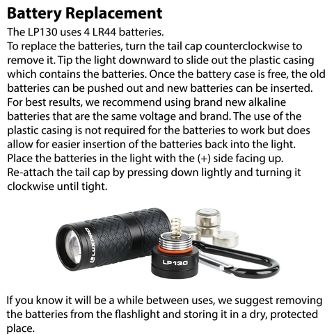 LUXPRO LP130 Flashlight Battery Replacement Instructions