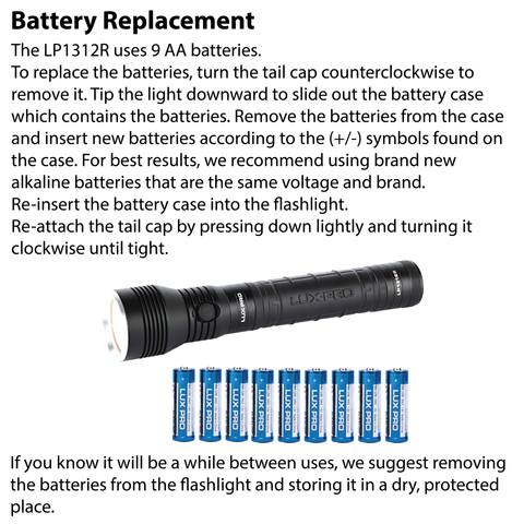 LUXPRO LP1312R Flashlight Battery Replacement Instructions