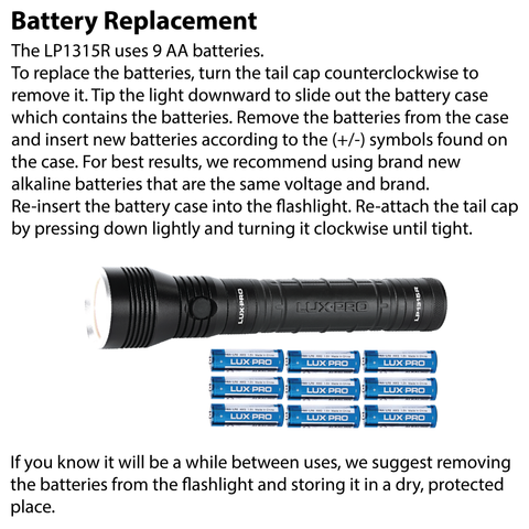 LUXPRO LP1315R Flashlight Battery Replacement Instructions