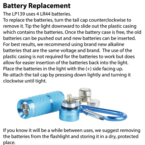 LUXPRO LP139 Flashlight Battery Replacement Instructions