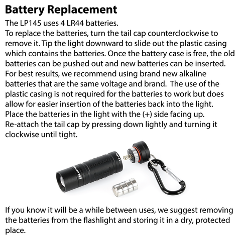 LUXPRO LP145 Keychain Flashlight Batter Replacement Instructions