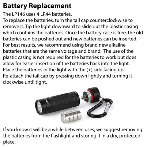 LUXPRO LP146 Keychain Flashlight Battery Replacement Instructions