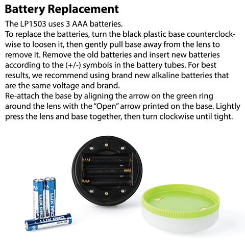 LUXPRO LP1503 Lantern Battery Replacement Instructions