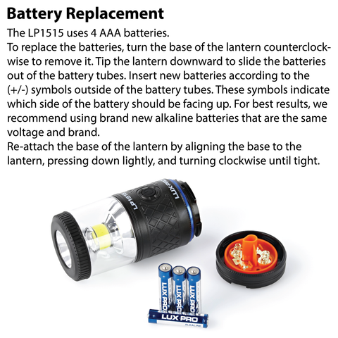 LUXPRO LP1515 Lantern Battery Replacement Instructions