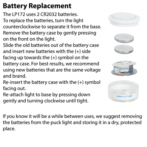 LUXPRO LP172 Puck Light Battery Replacement Instructions
