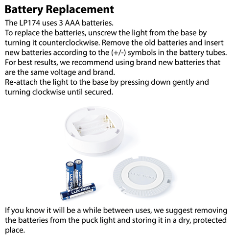 LUXPRO LP174 Puck Light  Battery Replacement Instructions