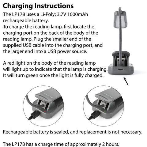 LUXPRO LP178 Reading Lamp Charging Instructions